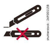 cutter knife. packing sign... | Shutterstock .eps vector #269301158