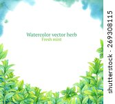 watercolor vector frame with... | Shutterstock .eps vector #269308115
