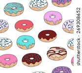 donuts vector seamless pattern... | Shutterstock .eps vector #269308652