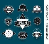 black and white hipster logo.... | Shutterstock .eps vector #269316092