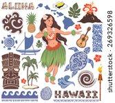 vector vintage set of hawaiian... | Shutterstock .eps vector #269326598