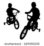 two boys riding bikes on the... | Shutterstock .eps vector #269350235