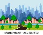 cartoon illustration of a road... | Shutterstock .eps vector #269400512