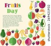 bright fruit set in flat style. ... | Shutterstock .eps vector #269421932