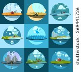 Set Of Landscapes Icons.