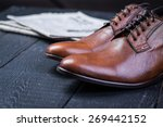 a pair of brown leather shoes...   Shutterstock . vector #269442152