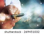 close up of people hand using... | Shutterstock . vector #269451032
