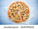 colorful sliced pizza with... | Shutterstock . vector #269459642