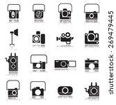 camera icons set   vector...