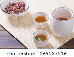 Asian Tea Set On Bamboo Mat...