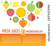 fresh juice colorful round... | Shutterstock .eps vector #269542946