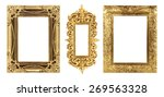 antique gold frame on the white ... | Shutterstock . vector #269563328