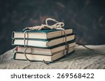 stack of books on the table | Shutterstock . vector #269568422
