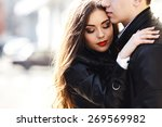 beautiful young couple tenderly ... | Shutterstock . vector #269569982