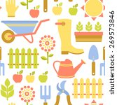 garden tools set. seamless... | Shutterstock .eps vector #269573846