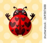 vector heart spotted ladybug | Shutterstock .eps vector #269587688