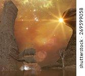 ship in the sunset | Shutterstock . vector #269599058