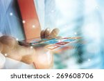 close up of people hand using... | Shutterstock . vector #269608706