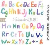 watercolor alphabet with... | Shutterstock .eps vector #269630738