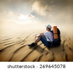 tourist sitting in a sand... | Shutterstock . vector #269645078