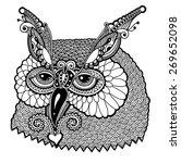 Black And White Owl Head ...