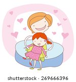 young mother hugging her... | Shutterstock .eps vector #269666396