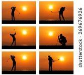silhouette of golfer against... | Shutterstock . vector #269676926