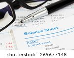 Small photo of Balance sheet in stockholder report book, balance sheet is mock-up