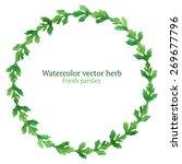 watercolor vector wreath with... | Shutterstock .eps vector #269677796