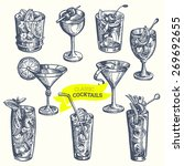 collection of vintage cocktails.... | Shutterstock .eps vector #269692655