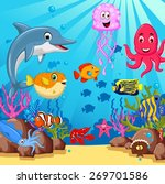 funny cartoon sea life for you... | Shutterstock .eps vector #269701586