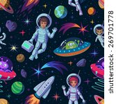 cartoon space seamless pattern... | Shutterstock .eps vector #269701778