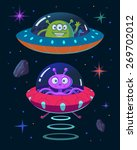 illustration of aliens and ufo... | Shutterstock .eps vector #269702012