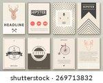 set of brochures in hipster...