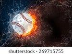 softball ball on fire and water ... | Shutterstock . vector #269715755