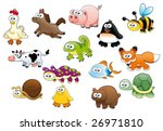 Stock vector cartoon animals and pets 26971810