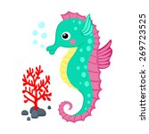 Cute Cartoon Seahorse And Red...