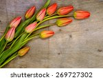 bouquet of red tulips on the... | Shutterstock . vector #269727302