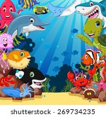 funny sea animals cartoon set | Shutterstock .eps vector #269734235