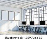 mock up poster in loft space ... | Shutterstock . vector #269736632