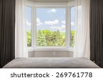 bay window with drapes ... | Shutterstock . vector #269761778