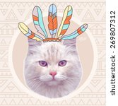 Vector Vintage Indian Cat With...