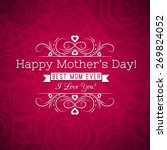 red mother's day greeting card  ... | Shutterstock .eps vector #269824052