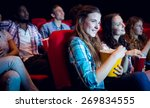 young friends watching a film... | Shutterstock . vector #269834555