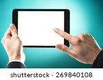 studio shoot of a hand touching ... | Shutterstock . vector #269840108