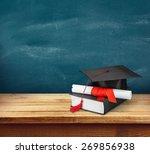 graduation  mortar board ... | Shutterstock . vector #269856938