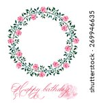 birthday card with  a wreath... | Shutterstock .eps vector #269946635