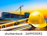 engineer working table plan and ... | Shutterstock . vector #269955092