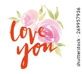 greeting card flowers.... | Shutterstock .eps vector #269957936