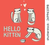 vector card with funny cats ... | Shutterstock .eps vector #269961098
